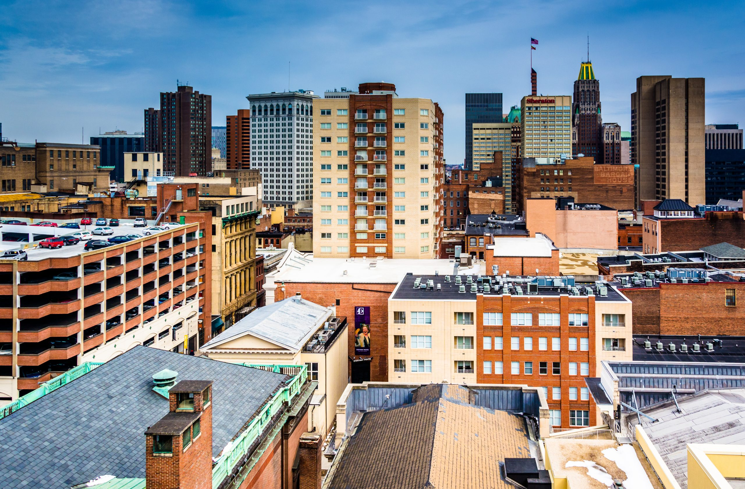 View of the skyline from a parking garage in Baltimore Maryland.