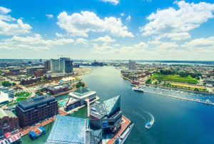 Aerial view of Baltimore City from Charm City Helicopters.