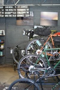 Bikes in the shop at Baltimore Bicycle Works in Belvedere Square.