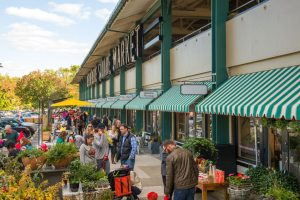 Angled view of tenants at Belvedere Square market in spring.