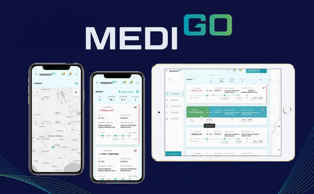 MediGo and MissionGo apps on cell phones and IPad
