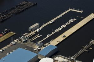 Drone view above MarineMax Baltimore, where investor Scott Plank has invested in a boatel.
