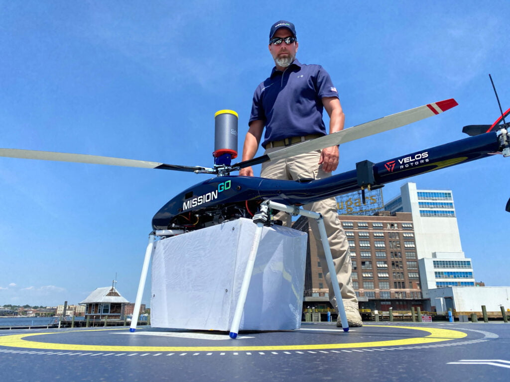 Picture of MissionGO unmanned aircraft on a rooftop landing pad